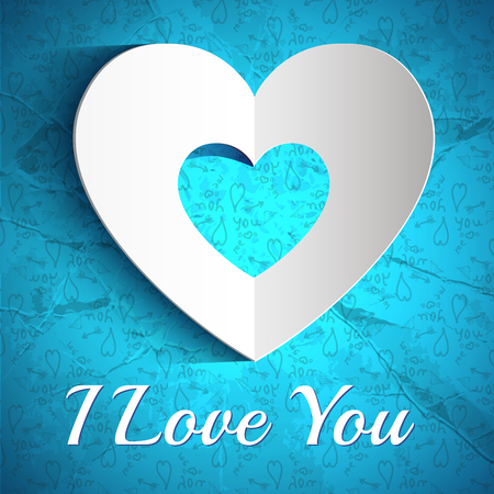 Elegant Valentines day poster with inscription white paper heart on blue sketch elements crumpled background vector illustration