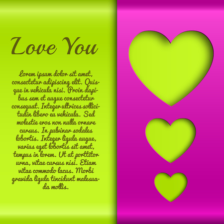Romantic greeting poster with text green hearts cut out from purple wrapping paper vector illustration Ilustração
