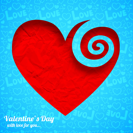 Valentines day template with red wrinkled paper heart cut from blue icons pattern vector illustration