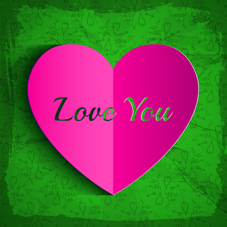 Romantic greeting background with paper heart cut out inscription on green hand drawn elements pattern vector illustration