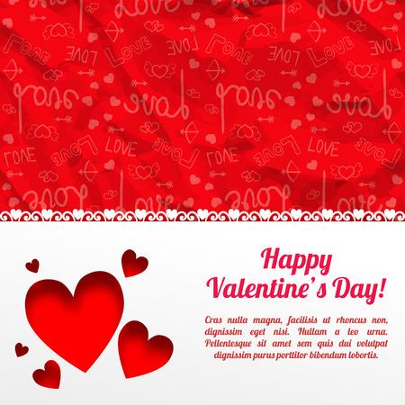 Mooi mooi malplaatje met witte achtergrond van tekst de romantische harten en rode pictogrammen gerimpeld document patroon vectorillustratie