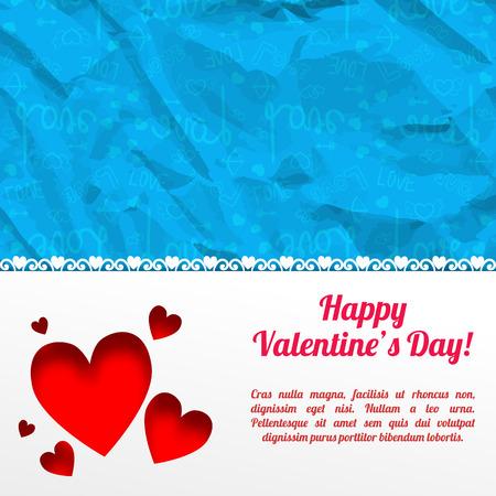 Amoureus romantisch malplaatje met witte achtergrond van tekst de rode harten en blauwe pictogrammen gerimpeld document patroon vectorillustratie