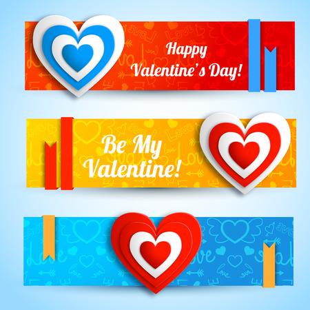 Greeting romantic horizontal banners with paper hearts ribbons on blue red orange icons background isolated vector illustration