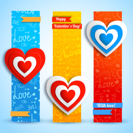 Romantic vertical banners with colorful paper hearts ribbons on blue red orange icons background isolated vector illustration