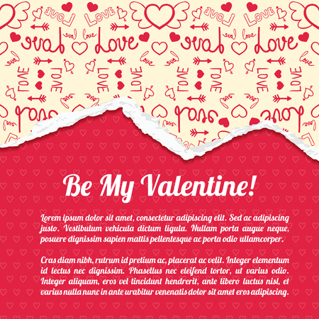 Romantic abstract poster with greeting text red hearts background and ragged icons light paper pattern vector illustration Illustration