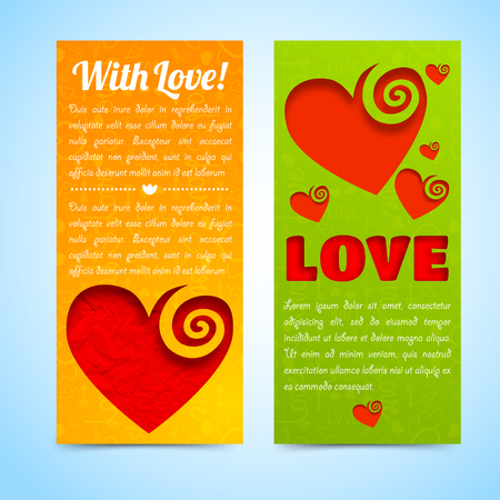 Romantic light vertical banners with greeting text red cut hearts on orange green background isolated vector illustration