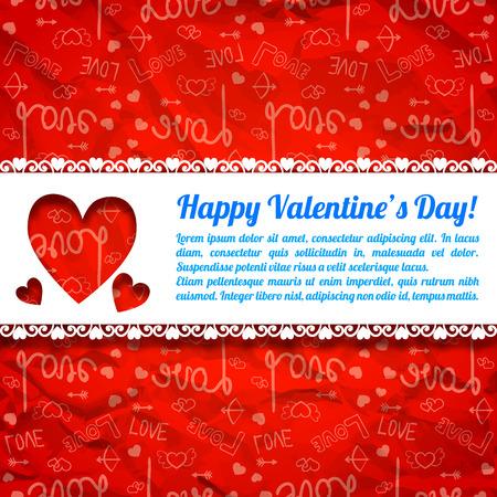 De mooie groetaffiche met tekst sneed harten wit lint en rode pictogrammen verfrommelde document vectorillustratie als achtergrond Stock Illustratie