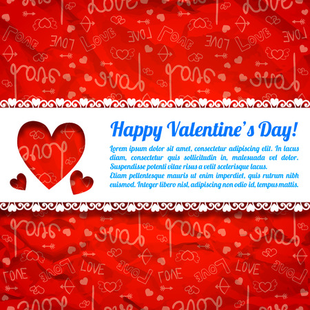 Lovely greeting poster with text cut hearts white ribbon and red icons crumpled paper background vector illustration