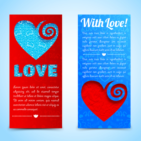 Valentines day vertical banners with text colorful cut hearts on blue red icons background isolated vector illustration