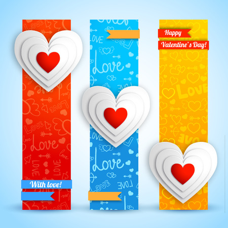 Lovely vertical banners with white paper hearts ribbons on blue red orange icons background isolated vector illustration