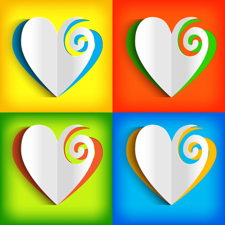 Paper white hearts collection on squares in yellow red blue green colors isolated vector illustration