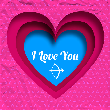 Amorous beautiful background with love confession cut blue heart and pink romantic crumpled paper pattern vector illustration