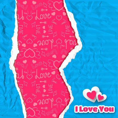 Happy Valentines day poster with blue crumpled torn striped paper and icons pink pattern vector illustration
