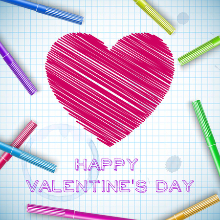 School romantic background with hatching red heart colorful marker pens on paper sheet vector illustration Illustration