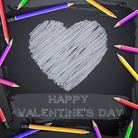 Lovely abstract template with hatching heart colorful pencils on black chalkboard vector illustration