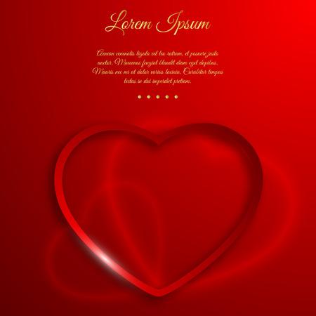 編集可能な献身テキストベクトルイラストとグラデーション赤い背景にハートサイン形のフレームを持つバレンタインデーの愛の概念