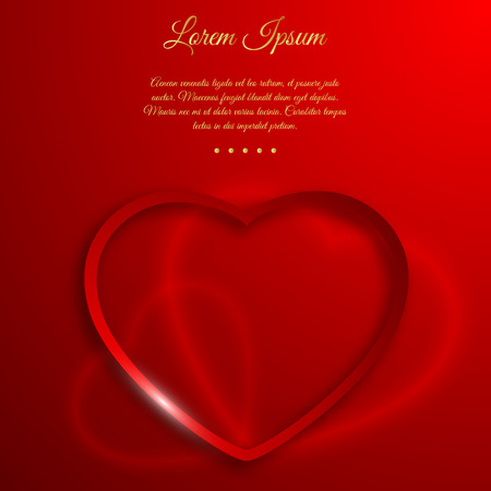 Valentines day love concept with heart sign shaped frame on gradient red background with editable dedication text vector illustration