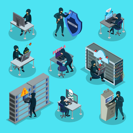 Isometric Hacking Activity Elements Set Ilustração