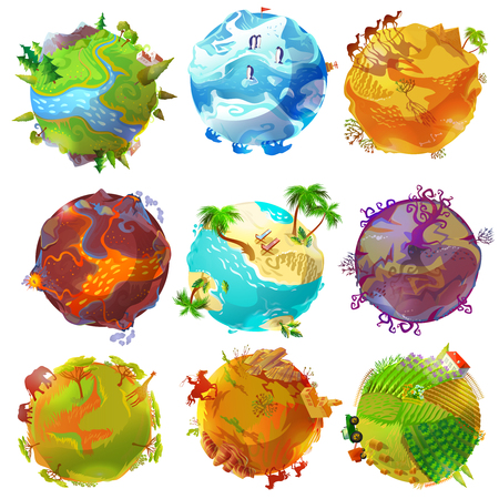 Cartoon Earth planets set with forest arctic desert volcano tropical beach savannah wild west rural landscapes isolated vector illustration Çizim