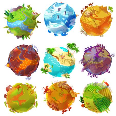 Planetas de terra dos desenhos animados com floresta ártica vulcão deserto tropical praia savana oeste selvagem paisagens rurais ilustração vetorial isolado