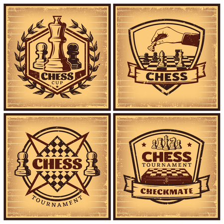 Vintage chess tournament posters with inscriptions figures and chessboards on light background isolated vector illustration Illusztráció