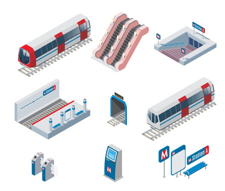 Isometric metro elements collection with train escalator entrance station tunnel subway gate ticket machine isolated vector illustration