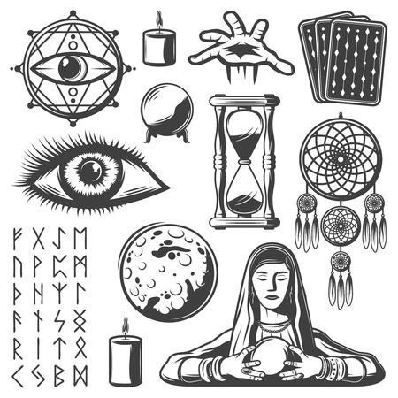 Vintage Mystic Elements Set Vettoriali