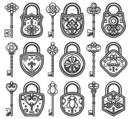 南京錠のそれぞれのための異なる古典的なキーで設定されたヴィンテージアンティーク古いロックは、ベクトルイラストレーション。  イラスト・ベクター素材