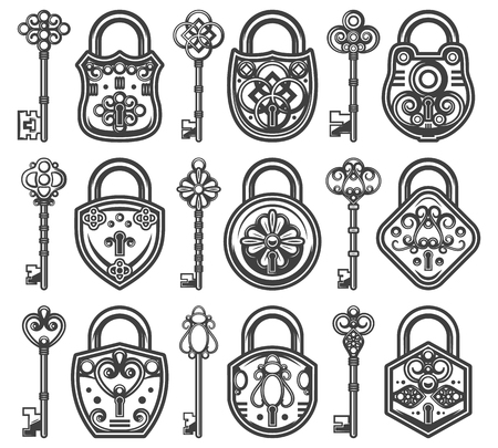 Vintage antique old locks set with different classic keys for each of padlocks isolated vector illustration.