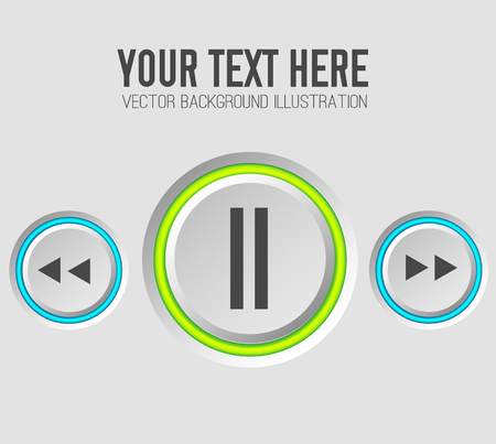 Web music template with gray round control buttons and colorful rings on light background isolated vector illustration Illustration