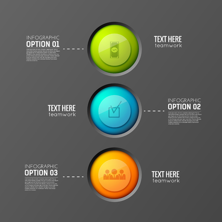 Infographic business background concept with three colorful round buttons connected with editable text paragraphs vector illustration