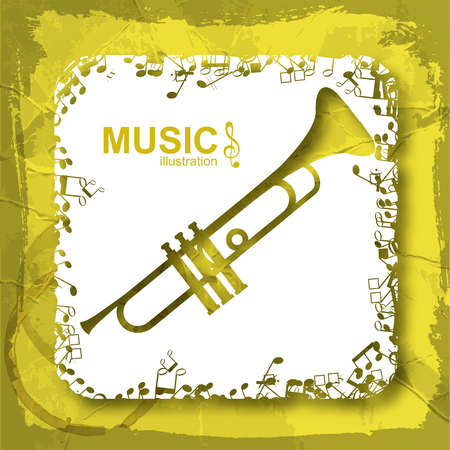Music abstract composition with trumpet white square and musical notes icons on crumpled paper isolated vector illustration
