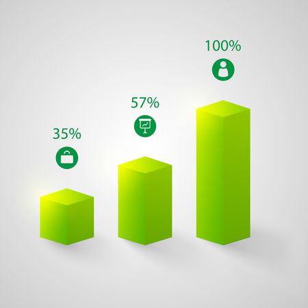Business web chart infographic template with 3d green columns three steps icons and percentage isolated vector illustration