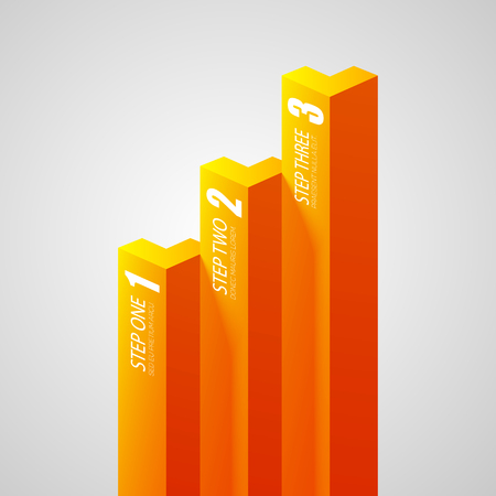 Abstract business infographics with orange vertical bars and three steps on light background isolated vector illustration