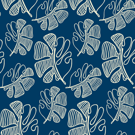 Hand drawn seamless pattern with white abstract leaves in sketch design on blue background flat vector Illustration     Çizim
