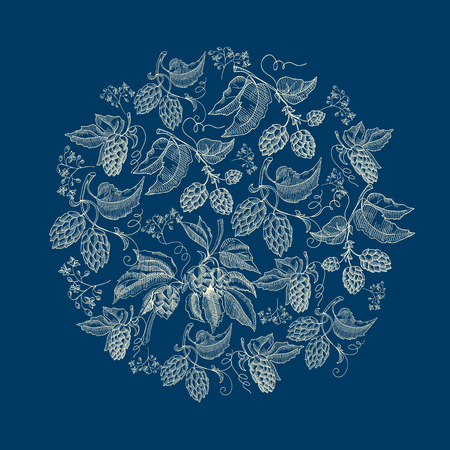 Abstract Natural Round Wreath Blue Background