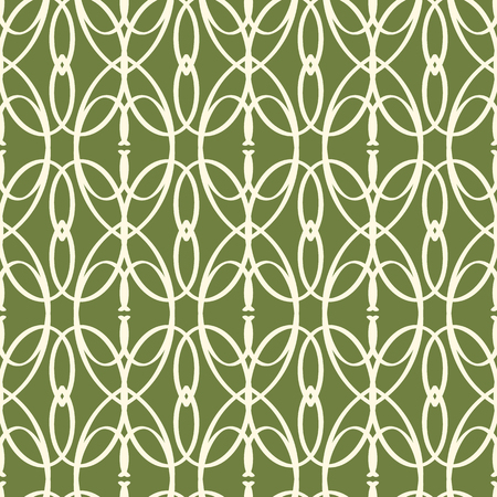 Abstract vector s mless green elements pattern with repeating grid-like structure consisting of strict repeating similar shapes and leaves vector illustration
