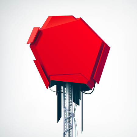 Realistic red technical high-tech object as the part of red element of industrial billboard advertising on the grey background isolated vector illustration