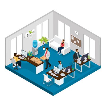 アイソメトリック サポート サービス オフィスの概念