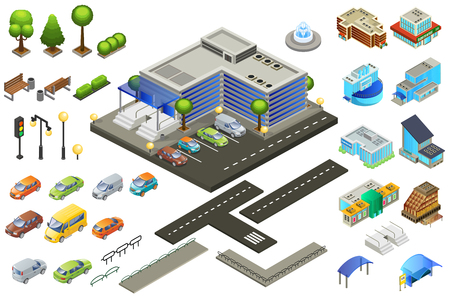 Isometric Supermarket Elements Set