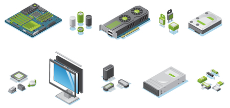 Isometric Computer Hardware Parts Set