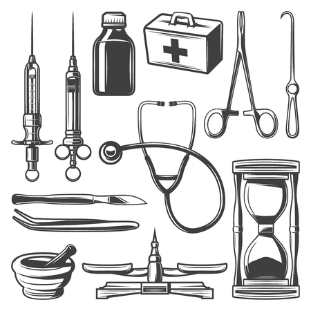 Vintage Medical Icons Collection Vector illustration. Çizim