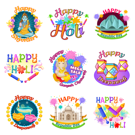 Colorful traditional Indian holidays labels set.