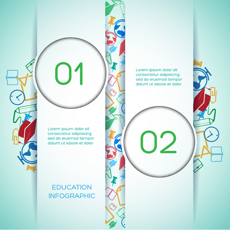 Educational school infographics with vertical ribbons two options text colorful icons on light background vector illustration 向量圖像