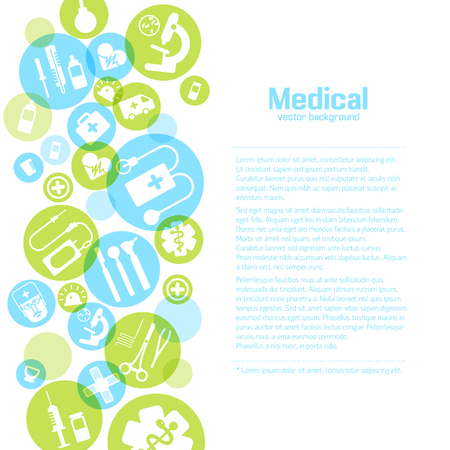 Medical treatment light poster with simple icons and elements in colorful circles on white background vector illustration Illustration