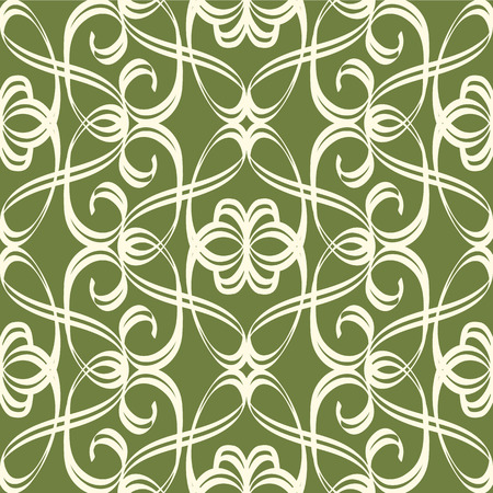 Beautiful abstract monogram vintage white seamless pattern on green background flat vector illustration