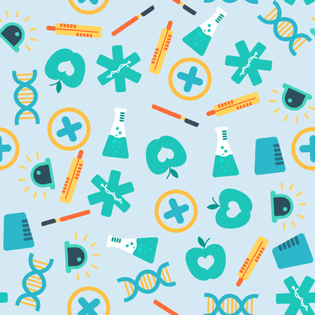 Healthy light seamless pattern with colorful medical elements and icons in flat style vector illustration Illustration