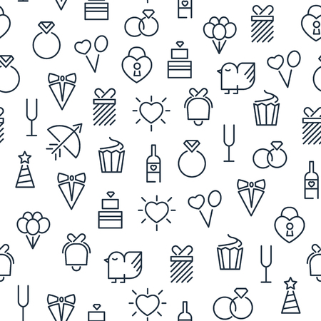 Festive light seamless pattern with celebrating wedding and birthday lined icons on white background vector illustration