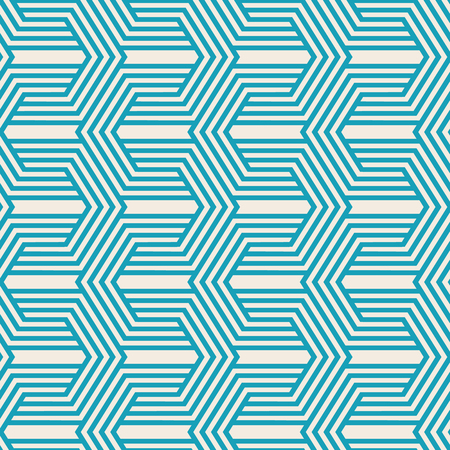 Vintage monochrome seamless pattern with turquoise linear repeating structure in minimalistic style vector illustration
