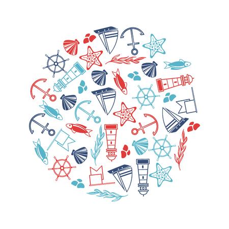 Zeilenobjecten affiche in de cirkel met vele maritieme elementen zoals coquille, zeewier, stenen op de witte vectorillustratie als achtergrond